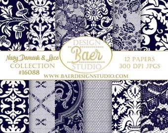 BLUE DIGITAL PAPER:Navy Lace Digital Paper, Wedding Digital Paper, Blue Damask Digital Scrapbook Paper, Navy Digital Paper, Hochzeit, #16088