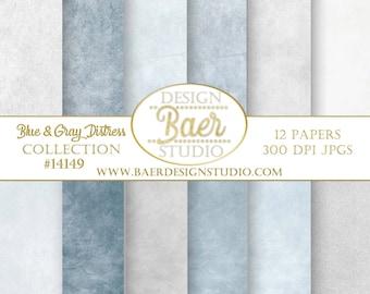 Digital Paper Pack:Dusty Blue Digital Paper, Sky Blue Distressed Digital Paper, Blue and Gray Distressed Digital Paper, Photoshop Background