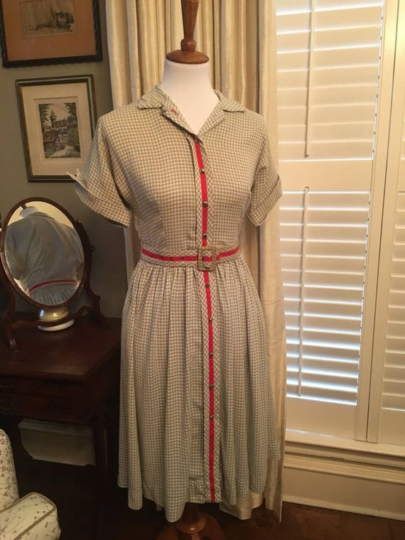 1950s Vintage Blue Gingham Cotton Dress