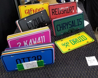 CUSTOM license plates - faux vanity plates, plastic auto tags, novelty sayings