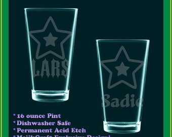 Custom YOUR NAME HERE etched drinking glass - mvp, vip, all star player, fursona, oc