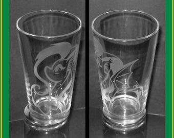 My Little Pony FlutterBat v2 etched pint glass - MPL:FiM, Fluttershy, Flutter Bat