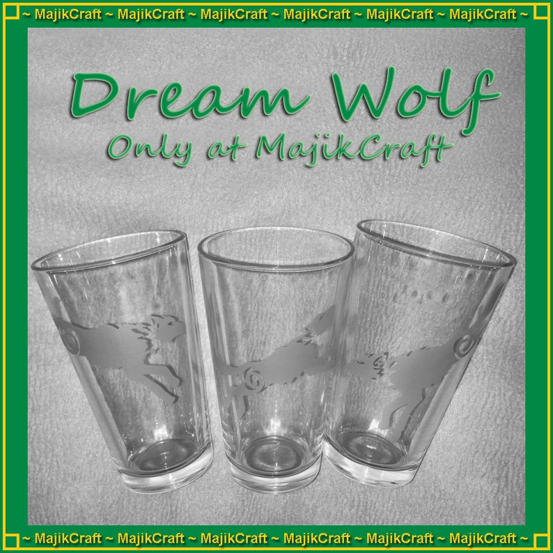 Wolf Run drinking glass - celtic wolves - spirit animal - dream dog -  etched pint