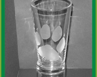 Paw print pint glass - Fox, Wolf, Dog, canine, canid