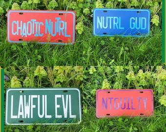 CUSTOM character alignment vanity plates - D&D, Tabletop, Paladin, Rogue, Gamer Gift