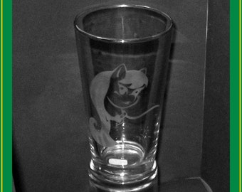 ANY Pony CUSTOM etched pint glass - any MLP:FiM character, hand drawn - one of a kind