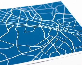 Richmond, VA City Map Wall Print / VCU University Art / 8x10 / Choose your color