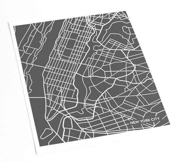 New York City Manhattan Map Art Print Nyc Poster Art Print Etsy