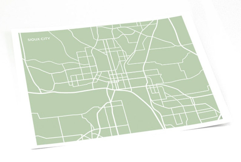 Sioux City Map Line Art / Iowa Street Map Wall Poster / 8x10 / Personalized  colors