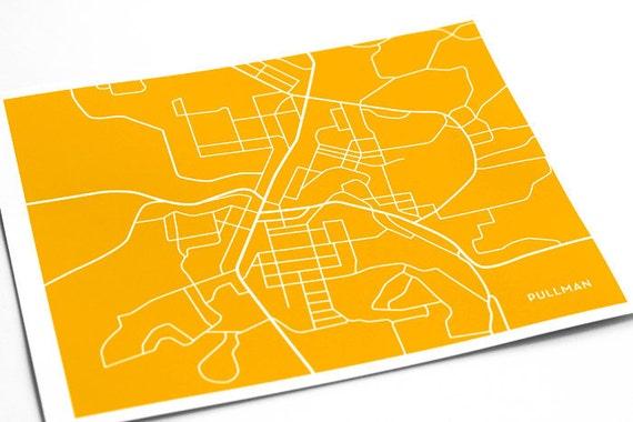 Pullman Wa Map Art Dorm Decor Washington State University Etsy