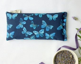 Eye Pillow, Lavender and Flax Seed Eye Pillow - Moody Blues Indigo Butterflies Scented Gift Relaxation Yoga Meditation