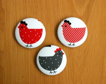 Fridge Magnets Set of 3 Chicken Dance Fabric Button Magnets 45mm (1 7/8 inch)