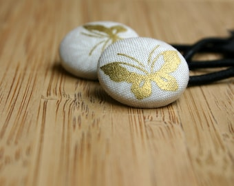 Gold Butterfly Button Hair Elastics Hair Elastic Hair Tie - Set of 2 - Ideal Gift - 23mm - Pony Tail Holder