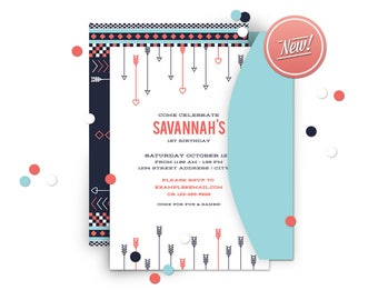 Aztec // Boho Custom Invitation Party Printable // Print-it-Yourself Party Supplies