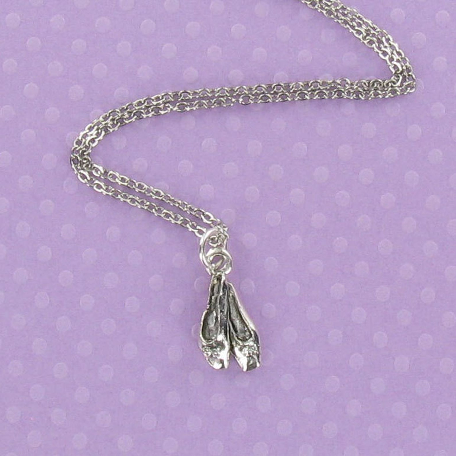 ballet slippers necklace - pewter charm on a free plated chain - dance shoes toe