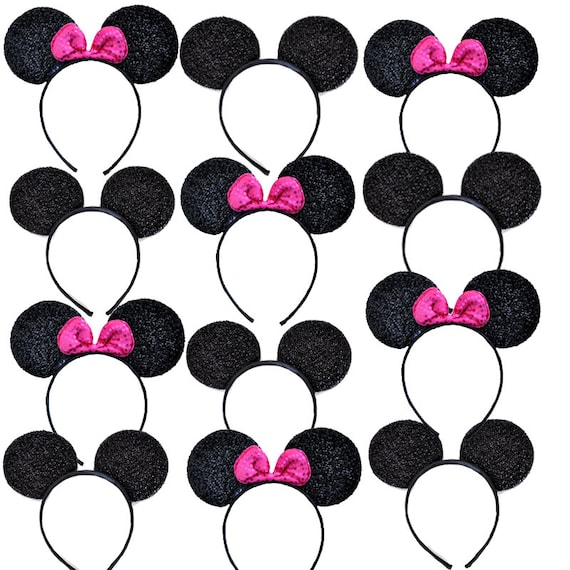 Minnie Mickey Mouse Ears Headbands 12 pc Black Red Shiny Birthday Party Costume