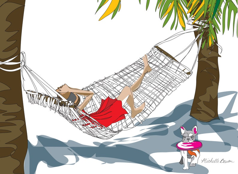Fashion Illustration Relaxing on the Beach Illustration image 0