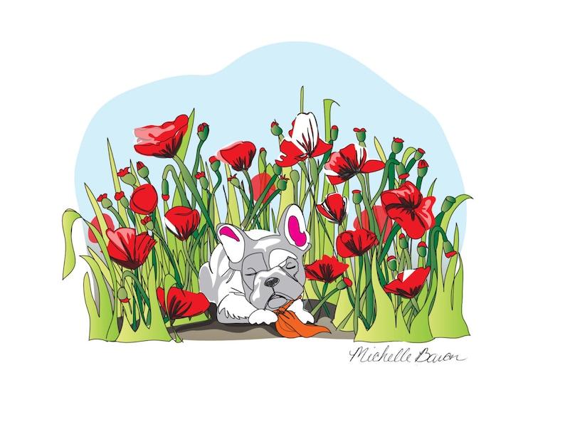 Louie Sleeping in Poppies Print image 0
