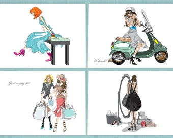 Greeting Card, note card, set of eight, Fashion Illustrations, Fun and Flirty Card Illustrations