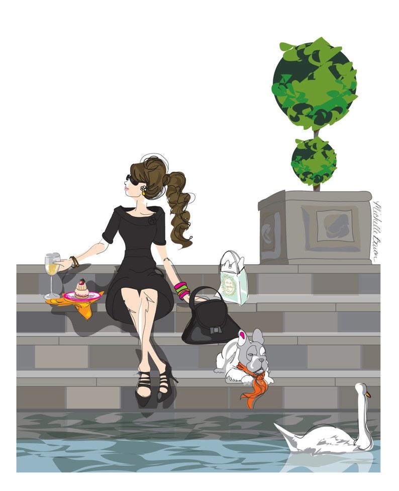 Fashion Illustration Parisian Girl and French Bulldog Wine image 0