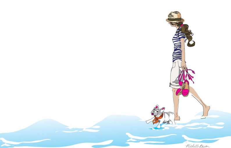 Fashion Illustration Walk on the Beach Illustration image 0
