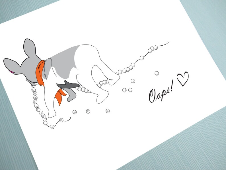 Oops Illustration Greeting Card Blank Inside image 0