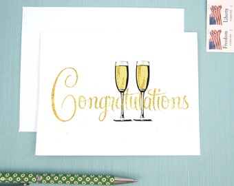 Congratulations Card with Champagne Flutes for wedding, graduation, new home, or any special achievement