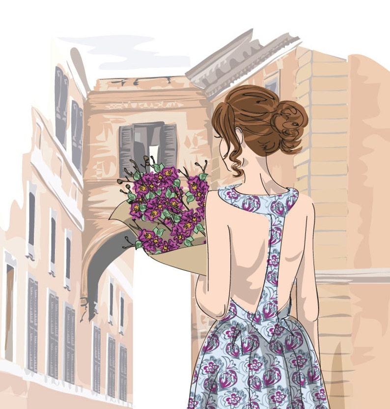 Fashion Illustration Roman Holiday Bohemian Style Floral image 0