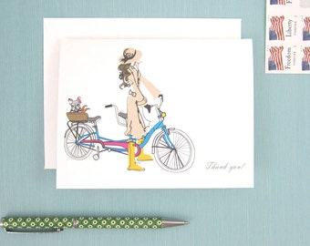 Thank You Card, Set of Eight Cards, Greeting Cards, Parisian, Bicycle Built for Two, Girl and French Bulldog
