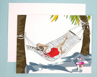Greeting Card, Note Card, Illustration of girl and her French Bulldog relaxing on the beach