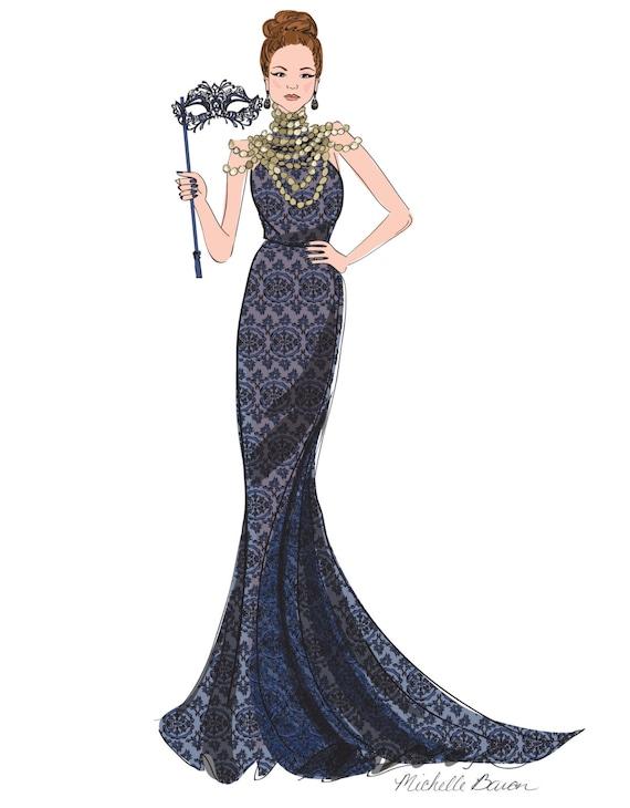 Fashion Illustration Masquerade Ball Ball Gown Elegant   Etsy