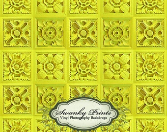 NEW ITEM 3ft x 4ft Canary Yellow Floral Tiles / Vinyl Photography Backdrop ------------- LARGE
