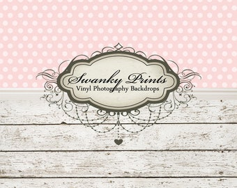 """IN STOCK / All In One 60"""" x 123"""" Vinyl Photography Backdrop /  Pink Polkadots and Barn Wood   / 50 PERCENT oFF"""