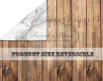 NEW ITEM / 3ft x 2ft REVERSIBLE Vinyl Backdrop / Double sided / White Black Marble & Brown Wood