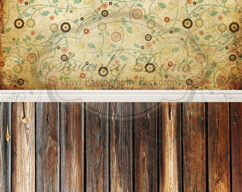 """NEW All In One 60"""" x 123""""  Vinyl Photography Backdrop / Retro Floral and Two Tone Wood"""