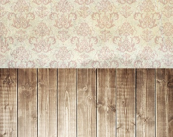 IN STOCK / All In One 5ft x 12ft Vinyl Photography Backdrop / Cream Pink Damask Brown Washed Wood  / 50 PERCENT oFF