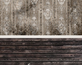 """IN STOCK / All In One 60"""" x 123"""" Vinyl Photography Backdrop / Black Grunge Damask Black Stained  / 50 PERCENT oFF"""