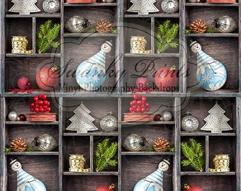 7ft x 7ft Holiday Design / Vinyl Photography Backdrop / Snowmen and Holly / Christmas