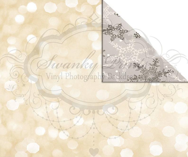 NEW ITEM  6ft x 5ft REVERSIBLE Vinyl Backdrop  Double sided  Silver Snowflakes Cream Bokeh