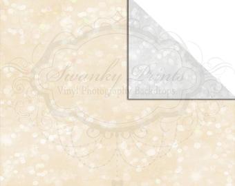 NEW ITEM / 5ft x 3ft  REVERSIBLE Vinyl Backdrop / Double sided / Soft Gray Bokeh / Small Print Cream Glitter