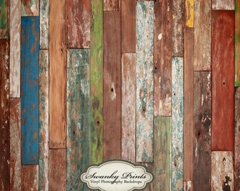 10ft x 10ft Vinyl Photography Backdrop / Colorful Scuffed Wood