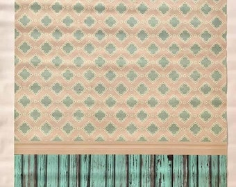 SALE / In Stock / READY To SHIP 4ft x 6ft Vintage wallpaper and Turquoise wood / Vinyl Backdrop
