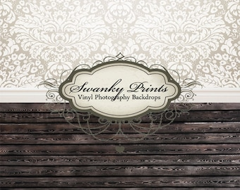 """IN STOCK / All In One 60"""" x 123"""" Vinyl Photography Backdrop / White Damask Black Stained  / 50 PERCENT oFF"""