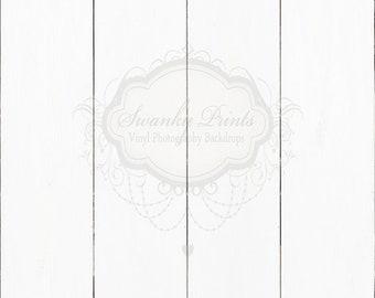 2ft x 2ft Vinyl Photography Backdrop / White Shiplap Wall