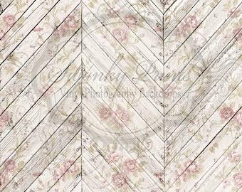 SWANKY ORIGINAL 7ft x 7ft Vinyl Photography Backdrop / Wood Floordrop / Shabby Chic Chevron