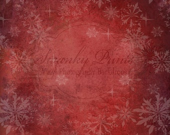 3ft x 3ft Vinyl Photography Backdrop Silver Holiday / Red SnowFlakes / Custom Photo Prop