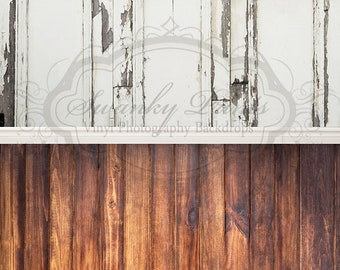 """IN STOCK / All In One 60"""" x 123"""" Vinyl Photography Backdrop / Grunge Wall and Dark Grunge Wood / 50 PERCENT oFF"""