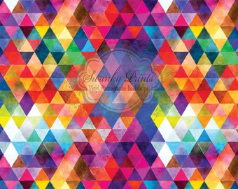 NEW ITEM 6ft x 6ft VINYL Photography Backdrop / Bright Geo Triangles