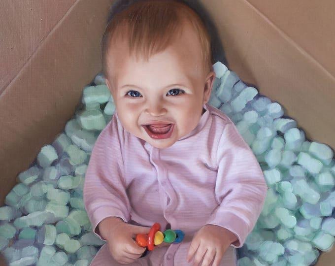 CUSTOM PORTRAIT - Oil Painting - Custom Painting - Baby Portrait - Baby Painting