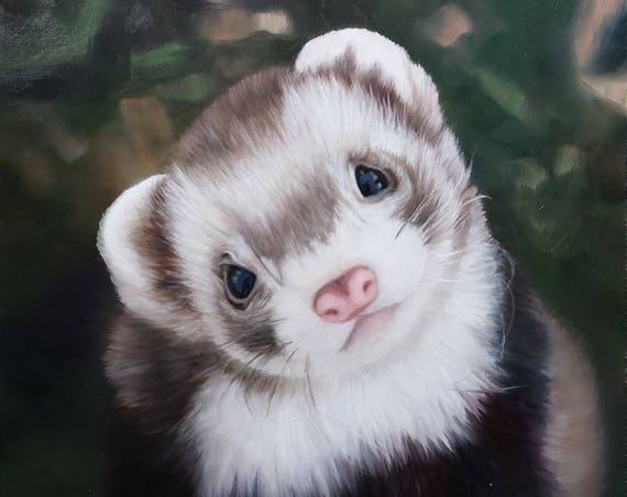 Custom Pet Portrait - Ferret Painting - Oil Painting - Pet Painting - Ferret Art - Unique Gift